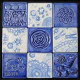 Tile Quilt - Blue and White