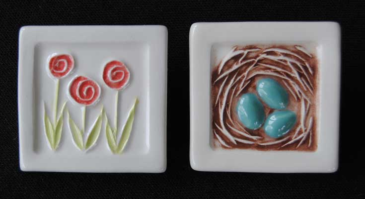 Tulip and Nest Brooches