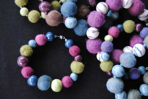 Felt and Ceramic Bead Bracelets